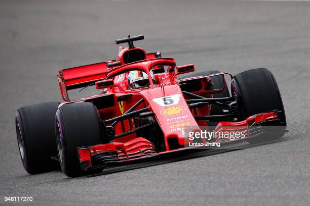 Sebastian Vettel of Germany driving the Scuderia Ferrari SF71H on track during final practice for the Formula One Grand Prix of China at Shanghai...