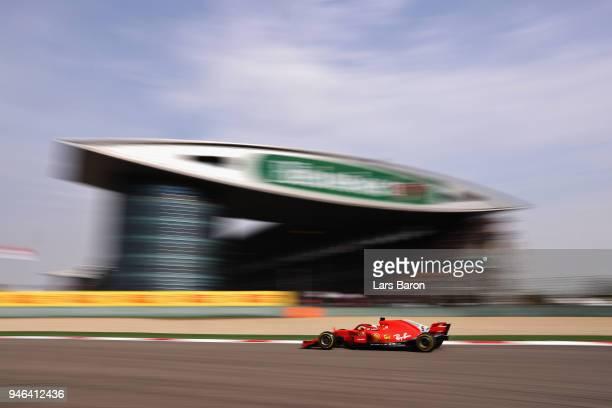 Sebastian Vettel of Germany driving the Scuderia Ferrari SF71H on track during the Formula One Grand Prix of China at Shanghai International Circuit...