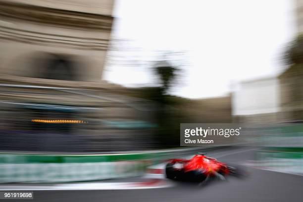 Sebastian Vettel of Germany driving the Scuderia Ferrari SF71H on track during practice for the Azerbaijan Formula One Grand Prix at Baku City...