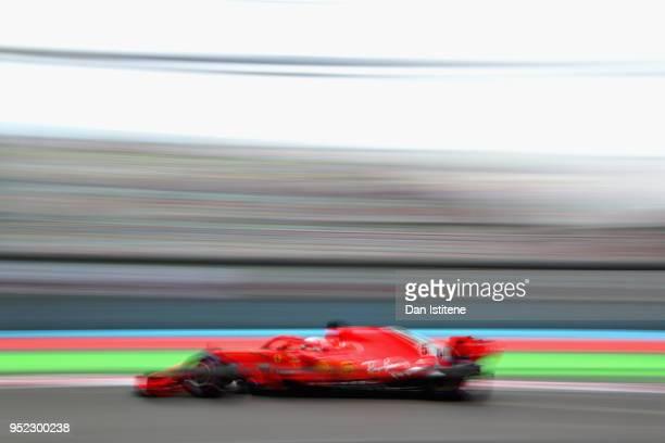 Sebastian Vettel of Germany driving the Scuderia Ferrari SF71H on track during final practice for the Azerbaijan Formula One Grand Prix at Baku City...