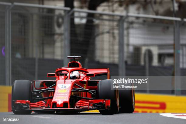 Sebastian Vettel of Germany driving the Scuderia Ferrari SF71H on track during final practice for the Azerbaijan Formula One Grand Prix at Baku City...