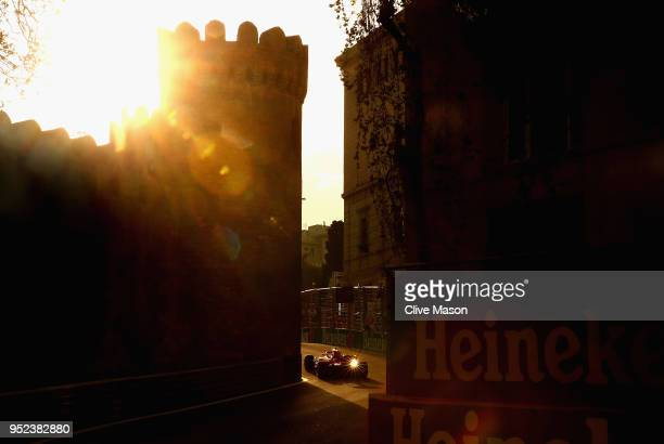 Sebastian Vettel of Germany driving the Scuderia Ferrari SF71H on track during qualifying for the Azerbaijan Formula One Grand Prix at Baku City...
