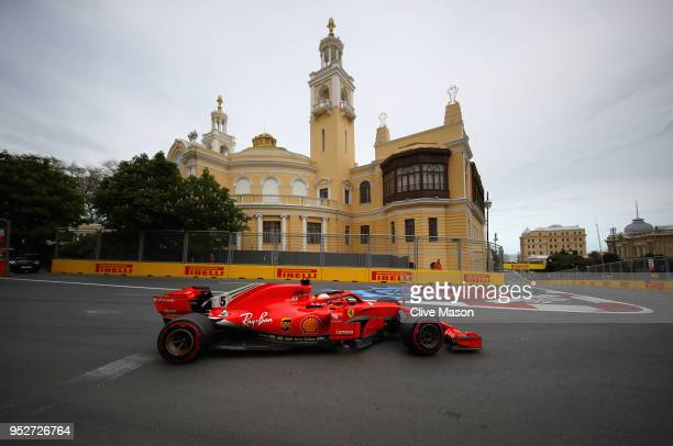 Sebastian Vettel of Germany driving the Scuderia Ferrari SF71H on track during the Azerbaijan Formula One Grand Prix at Baku City Circuit on April 29...