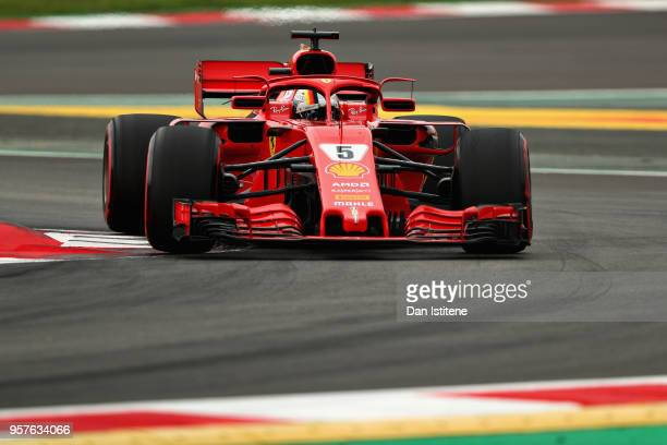 Sebastian Vettel of Germany driving the Scuderia Ferrari SF71H on track during qualifying for the Spanish Formula One Grand Prix at Circuit de...