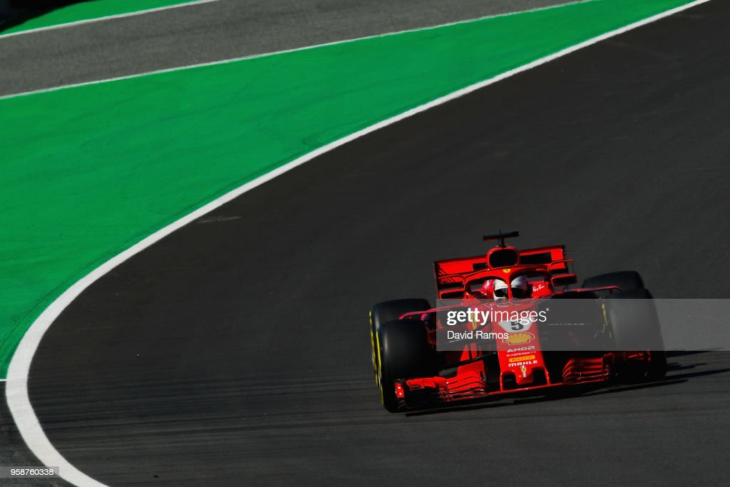 Sebastian Vettel of Germany driving the (5) Scuderia Ferrari SF71H on track during day one of F1 testing at Circuit de Catalunya on May 15, 2018 in Montmelo, Spain.