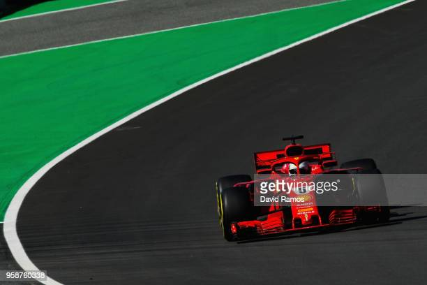 Sebastian Vettel of Germany driving the Scuderia Ferrari SF71H on track during day one of F1 testing at Circuit de Catalunya on May 15 2018 in...