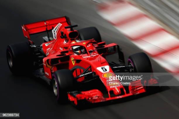 Sebastian Vettel of Germany driving the Scuderia Ferrari SF71H on track during practice for the Monaco Formula One Grand Prix at Circuit de Monaco on...