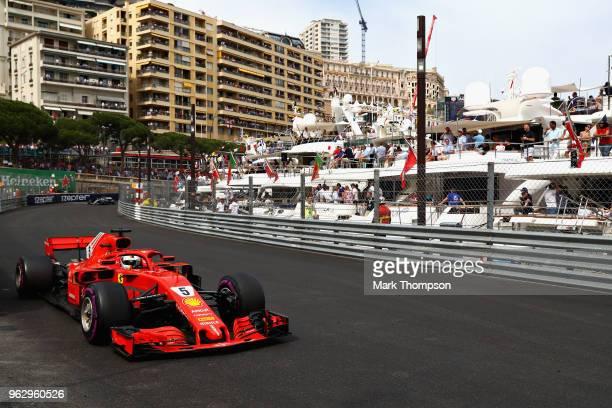 Sebastian Vettel of Germany driving the Scuderia Ferrari SF71H on track during the Monaco Formula One Grand Prix at Circuit de Monaco on May 27, 2018...