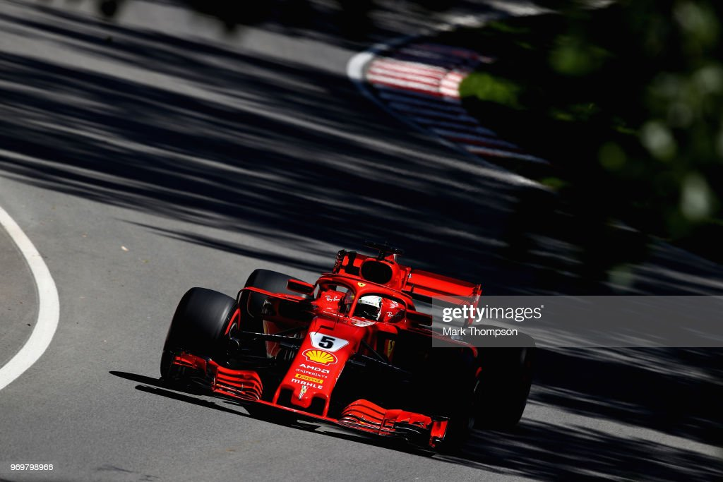Sebastian Vettel of Germany driving the (5) Scuderia Ferrari SF71H on track during practice for the Canadian Formula One Grand Prix at Circuit Gilles Villeneuve on June 8, 2018 in Montreal, Canada.