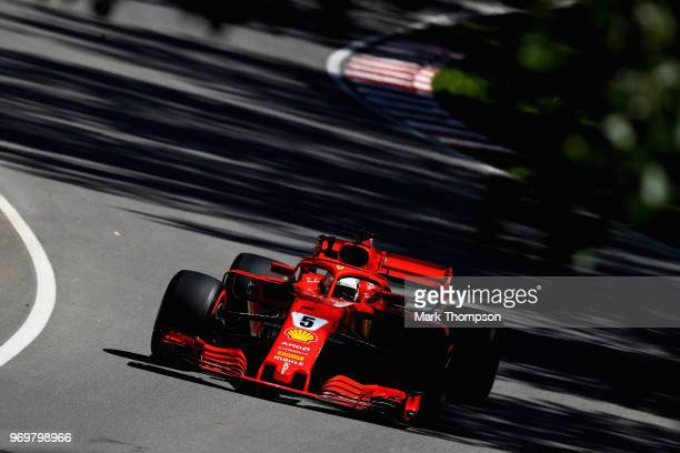 Sebastian Vettel of Germany driving the Scuderia Ferrari SF71H on track during practice for the Canadian Formula One Grand Prix at Circuit Gilles...