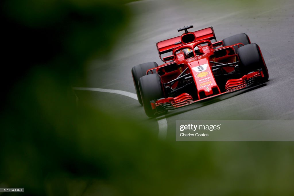 Sebastian Vettel of Germany driving the (5) Scuderia Ferrari SF71H on track during the Canadian Formula One Grand Prix at Circuit Gilles Villeneuve on June 10, 2018 in Montreal, Canada.