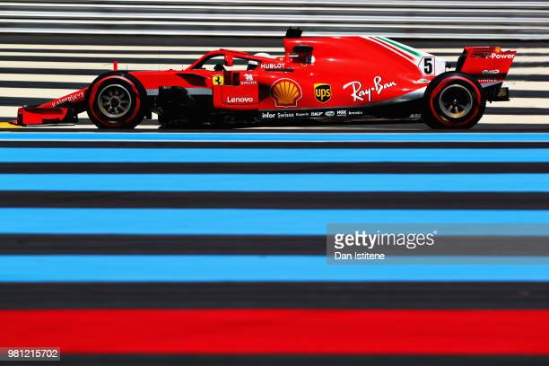 Sebastian Vettel of Germany driving the Scuderia Ferrari SF71H on track during practice for the Formula One Grand Prix of France at Circuit Paul...