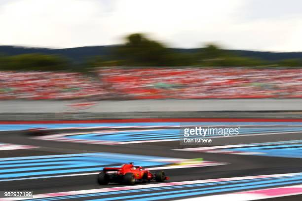 Sebastian Vettel of Germany driving the Scuderia Ferrari SF71H on track during the Formula One Grand Prix of France at Circuit Paul Ricard on June 24...