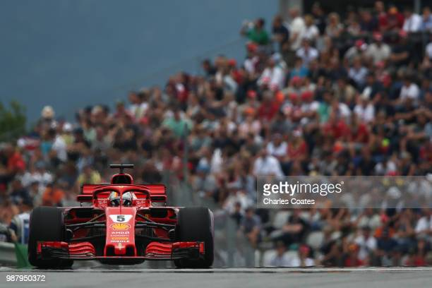 Sebastian Vettel of Germany driving the Scuderia Ferrari SF71H on track during qualifying for the Formula One Grand Prix of Austria at Red Bull Ring...