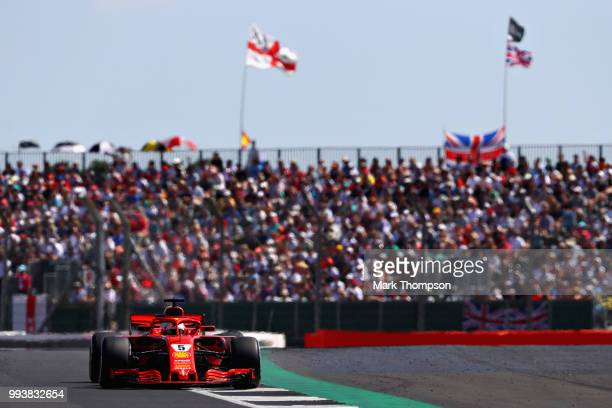 Sebastian Vettel of Germany driving the Scuderia Ferrari SF71H on track during the Formula One Grand Prix of Great Britain at Silverstone on July 8...