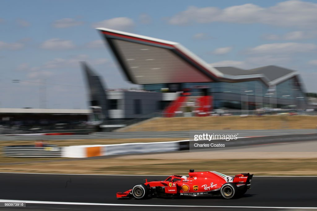 Sebastian Vettel of Germany driving the (5) Scuderia Ferrari SF71H on track during the Formula One Grand Prix of Great Britain at Silverstone on July 8, 2018 in Northampton, England.