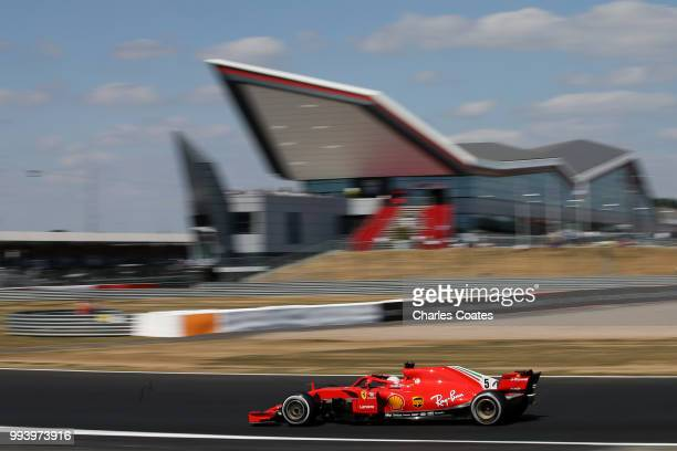Sebastian Vettel of Germany driving the Scuderia Ferrari SF71H on track during the Formula One Grand Prix of Great Britain at Silverstone on July 8,...