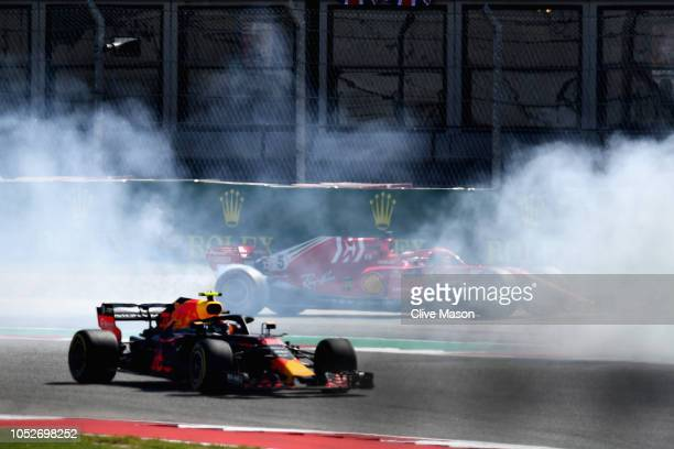 Sebastian Vettel of Germany driving the Scuderia Ferrari SF71H spins during the United States Formula One Grand Prix at Circuit of The Americas on...