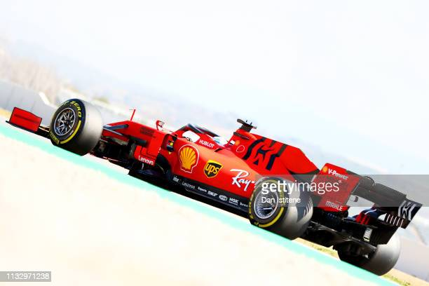 Sebastian Vettel of Germany driving the Scuderia Ferrari SF90 during day four of F1 Winter Testing at Circuit de Catalunya on March 01, 2019 in...