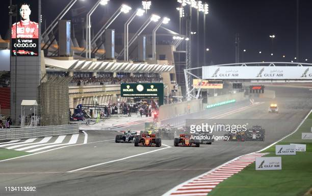 Sebastian Vettel of Germany driving the Scuderia Ferrari SF90 competes during F1 Grand Prix of Bahrain at Bahrain International Circuit on March 31,...