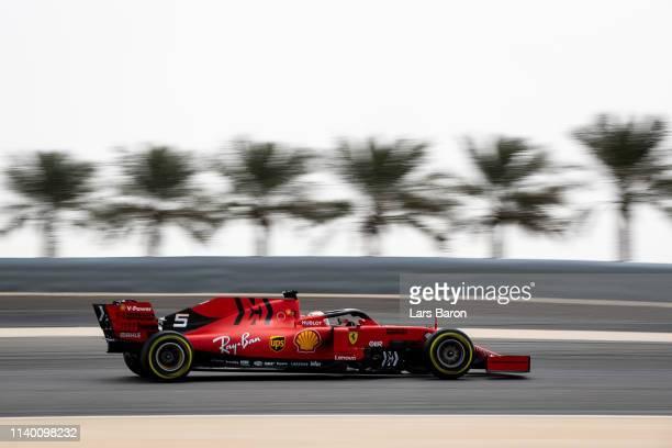 Sebastian Vettel of Germany driving the Scuderia Ferrari SF90 during F1 testing in Bahrain at Bahrain International Circuit on April 03, 2019 in...