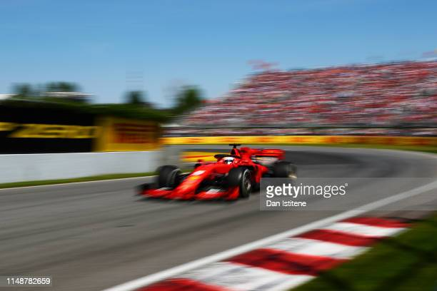 Sebastian Vettel of Germany driving the Scuderia Ferrari SF90 during the F1 Grand Prix of Canada at Circuit Gilles Villeneuve on June 9, 2019 in...