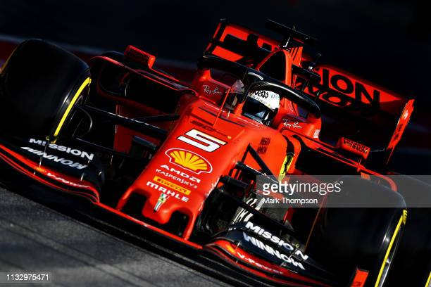 Sebastian Vettel of Germany driving the Scuderia Ferrari SF90 in the Pitlane during day four of F1 Winter Testing at Circuit de Catalunya on March 01...