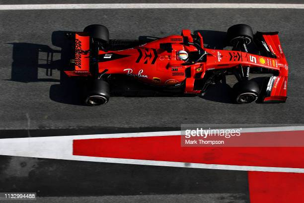 Sebastian Vettel of Germany driving the Scuderia Ferrari SF90 in the Pitlane during day four of F1 Winter Testing at Circuit de Catalunya on March...