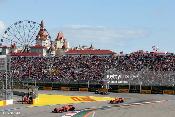 Sebastian Vettel of Germany driving the Scuderia Ferrari SF90 leads Charles Leclerc of Monaco driving the Scuderia Ferrari SF90 on track during the...
