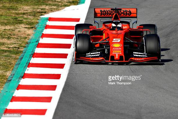Sebastian Vettel of Germany driving the Scuderia Ferrari SF90 on track during day one of F1 Winter Testing at Circuit de Catalunya on February 18,...