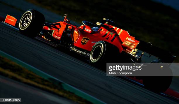 Sebastian Vettel of Germany driving the Scuderia Ferrari SF90 on track during day one of F1 Winter Testing at Circuit de Catalunya on February 18...
