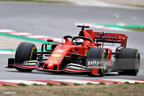 Sebastian Vettel of Germany driving the Scuderia Ferrari SF90 on track during day three of F1 Winter Testing at Circuit de Catalunya on February 20...