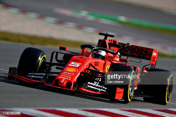 Sebastian Vettel of Germany driving the Scuderia Ferrari SF90 on track during day one of F1 Winter Testing at Circuit de Catalunya on February 26,...