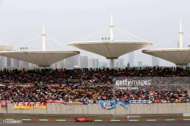 Sebastian Vettel of Germany driving the Scuderia Ferrari SF90 on track during the F1 Grand Prix of China at Shanghai International Circuit on April...