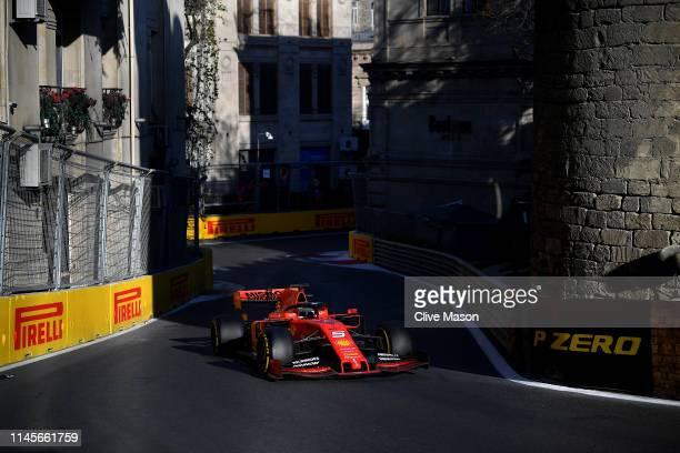 Sebastian Vettel of Germany driving the Scuderia Ferrari SF90 on track during the F1 Grand Prix of Azerbaijan at Baku City Circuit on April 28, 2019...