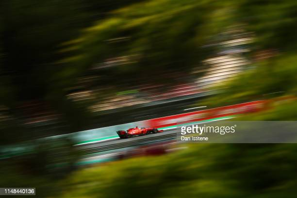 Sebastian Vettel of Germany driving the Scuderia Ferrari SF90 on track during qualifying for the F1 Grand Prix of Spain at Circuit de...