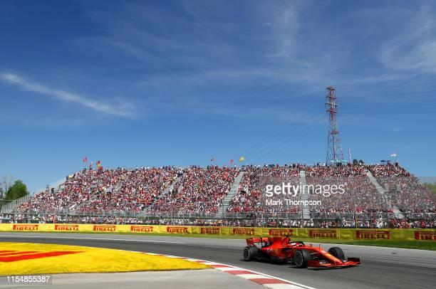 Sebastian Vettel of Germany driving the Scuderia Ferrari SF90 on track during the F1 Grand Prix of Canada at Circuit Gilles Villeneuve on June 09,...