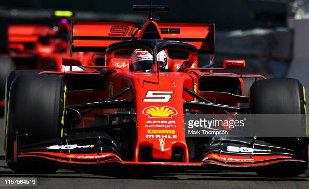 Sebastian Vettel of Germany driving the Scuderia Ferrari SF90 on track during qualifying for the F1 Grand Prix of France at Circuit Paul Ricard on...