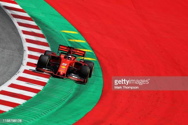 Sebastian Vettel of Germany driving the Scuderia Ferrari SF90 on track during practice for the F1 Grand Prix of Austria at Red Bull Ring on June 28,...