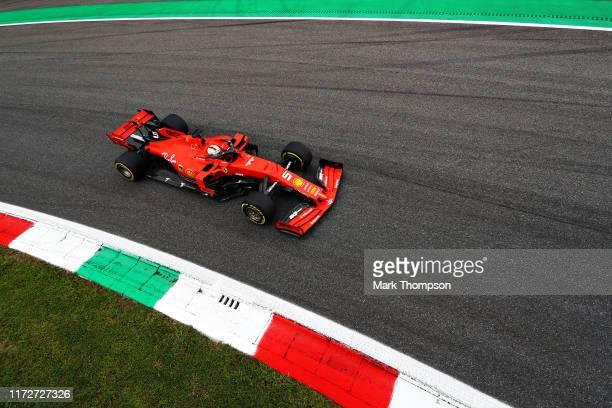 Sebastian Vettel of Germany driving the Scuderia Ferrari SF90 on track during practice for the F1 Grand Prix of Italy at Autodromo di Monza on...