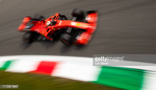 Sebastian Vettel of Germany driving the Scuderia Ferrari SF90 on track during final practice for the F1 Grand Prix of Italy at Autodromo di Monza on...