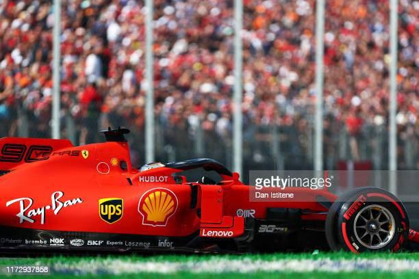 Sebastian Vettel of Germany driving the Scuderia Ferrari SF90 on track during qualifying for the F1 Grand Prix of Italy at Autodromo di Monza on...