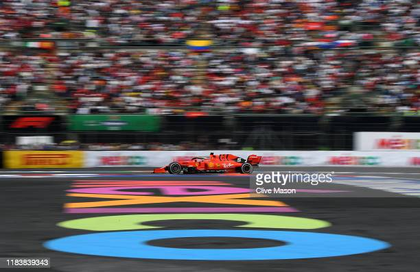 Sebastian Vettel of Germany driving the Scuderia Ferrari SF90 on track during the F1 Grand Prix of Mexico at Autodromo Hermanos Rodriguez on October...