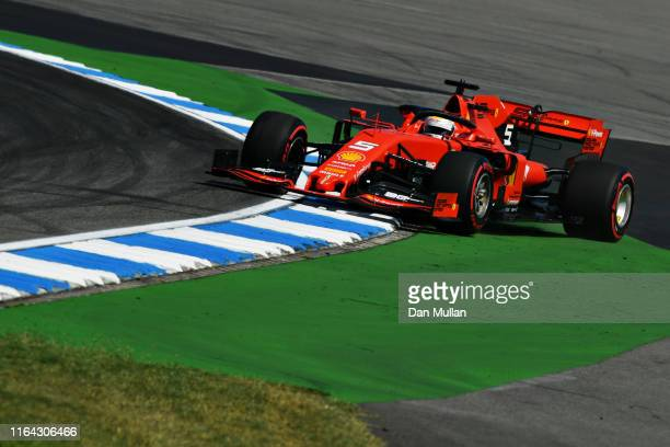 Sebastian Vettel of Germany driving the Scuderia Ferrari SF90 runs wide during practice for the F1 Grand Prix of Germany at Hockenheimring on July...