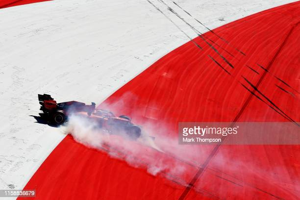 Sebastian Vettel of Germany driving the Scuderia Ferrari SF90 spins during practice for the F1 Grand Prix of Austria at Red Bull Ring on June 28,...