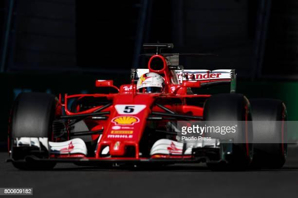 Sebastian Vettel of Germany Scuderia Ferrai F1 Team on track during final practice for the Azerbaijan Formula One Grand Prix at Baku City Circuit