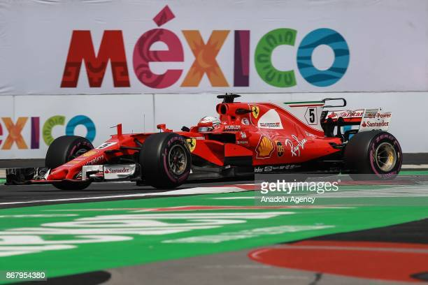 Sebastian Vettel of Scuderia Ferrari drives during the Formula One Grand Prix of Mexico at Autodromo Hermanos Rodriguez in Mexico City Mexico on...