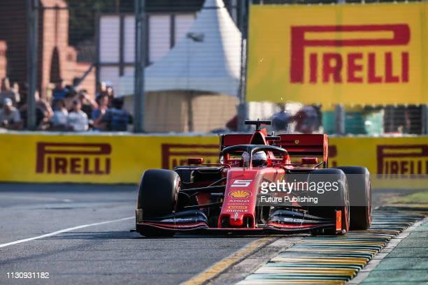 Sebastian VETTEL of Scuderia Ferrari Mission Winnow locks up a wheel during qualifying on day 3 of the 2019 Formula 1 Australian Grand Prix