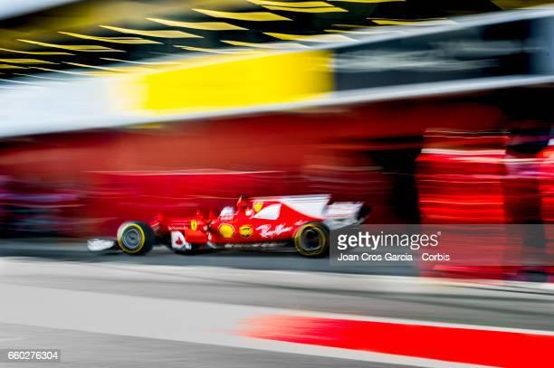 Sebastian Vettel of Scuderia Ferrari pits during the Formula One preseason testing on May 29 2017 in Barcelona Spain