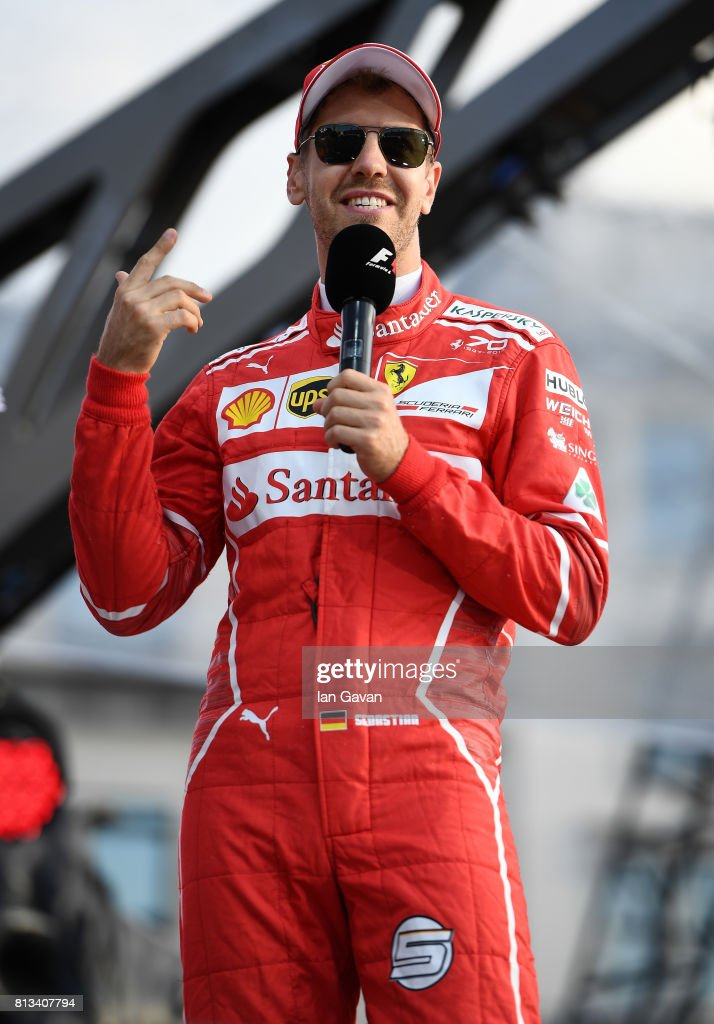 Sebastian Vettel on stage at the F1 Live in London event at Trafalgar Square on July 12, 2017 in London, England. F1 Live London, the first time in Formula 1 history that all 10 teams come together outside of a race weekend to put on a show for the public in the heart of London.